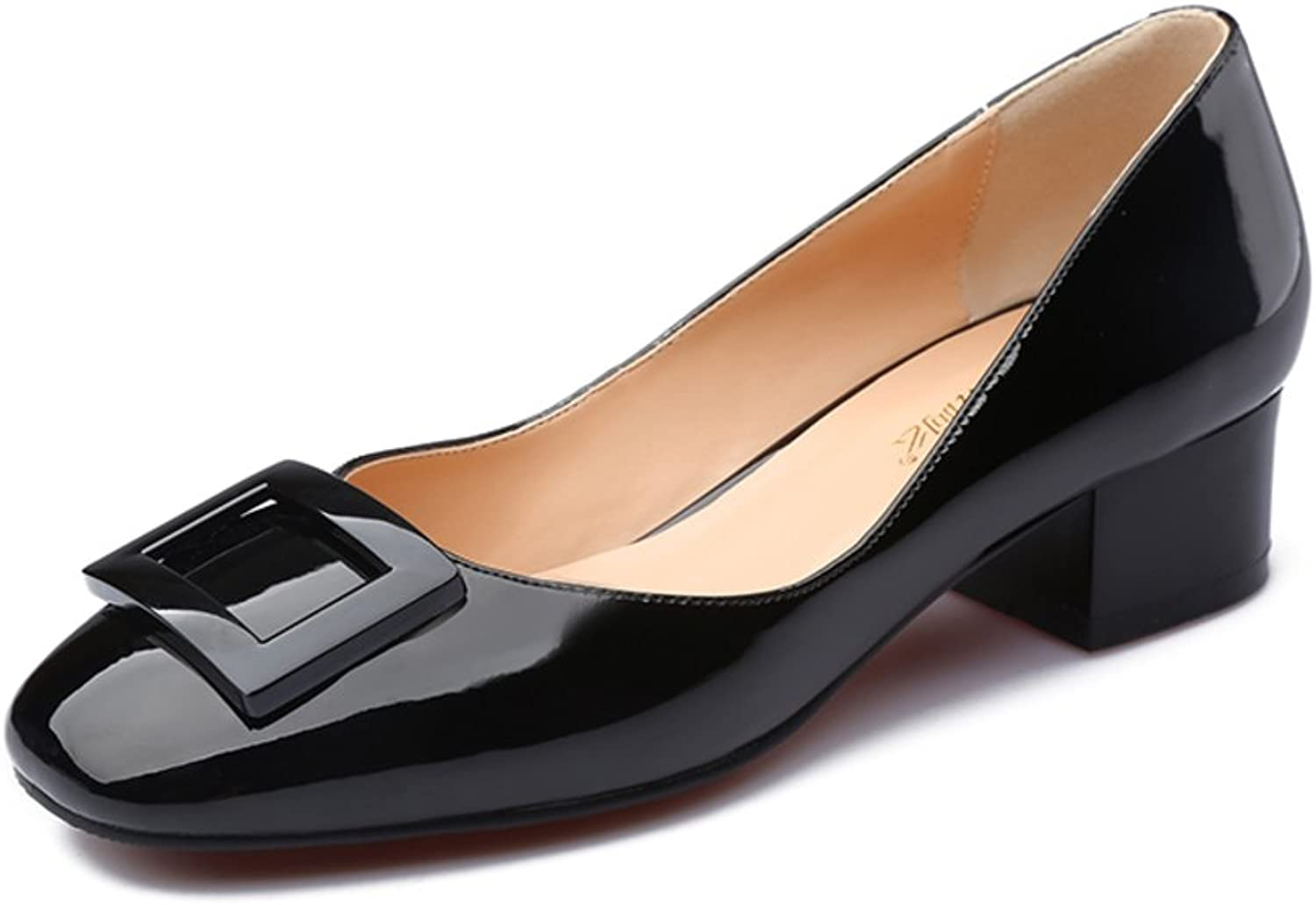 Huhuj Patent leather shoes fall trend geblackus deduction Comfortable thick with high-heeled shoes round shallow mouth