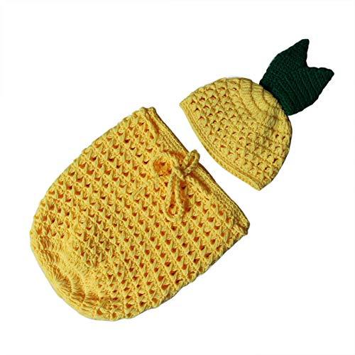QIEZI Accesorios de fotografía de bebé recién Nacido, Trajes de Disfraces Sombrero Lindo Saco de Dormir, Fondo de fotografía de Piel de piña Alfombra para bebés Niños Niñas
