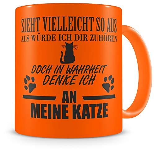 Samunshi® Katze Tasse mit Spruch Geschenk für Mann Frau Oma oder Opa Kaffeetasse groß Lustige Tassen zum Geburtstag neon orange 300ml