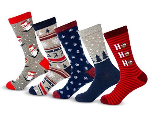 Charles Richards Men's Christmas Holidays Cotton Crew Snowman Socks 5-Pack