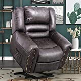 Harper & Bright Designs Lift Chair Heavy-Duty Power Lift Recliner Chair for Elderly Built-in Remote and 2 Castors, Distressed Brown