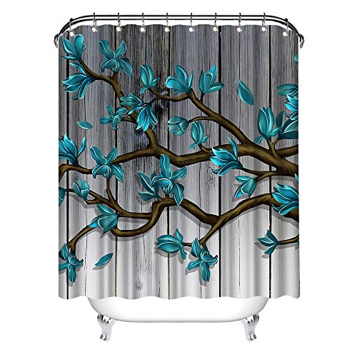 Zlove Magnolia Blossom Shower Curtain Teal Flower Abstract Tree Floral Artwork Waterproof Polyester Fabric Bath Curtain for Bathroom Decor with 12 Pack Plastic Hooks 72x72inch
