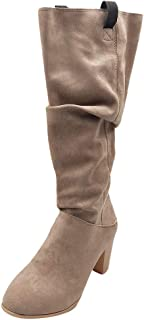 Women Vintage Weage Long Boots, Ladies Solid Round Toe Winter Sexy Knee High Tube Boots