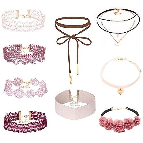MingJun - Conjunto de 9collares y gargantillas, rosa y rojo, collar gótico de cuero, flores multicapa, gargantilla con cadena dorada, para mujer y niña, estilo años 90