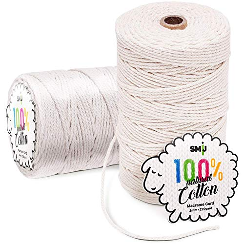 Colored Macrame Rope 3 Strand Twisted Cotton Rope Macrame Yarn Plant Hangers Crafts Colorful Cotton Craft Cord for Wall Hanging Knitting NOANTA Grey Macrame Cord 3mm x 328yards