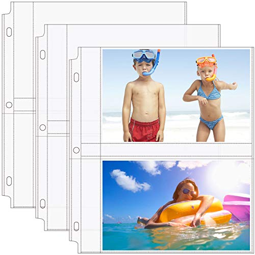 MaxGear Photo Sleeves for 3 Ring Binder -(5x7,30 Pack)for 120 Photos, Archival Photo Pages Photo Album Pages Photo Sheet Protector Refill Pages Protector 8.5 x 11, 2 Pockets Per Page Holds 4 Pictures