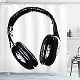 ABAKUHAUS Musik Duschvorhang, Grunge Kopfhörer Spaß, mit 12 Ringe Set Wasserdicht Stielvoll Modern Farbfest & Schimmel Resistent, 175x180 cm, Hellgrau Schwarz