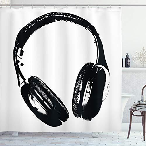 ABAKUHAUS Musik Duschvorhang, Grunge Kopfhörer Spaß, mit 12 Ringe Set Wasserdicht Stielvoll Modern Farbfest & Schimmel Resistent, 175x220 cm, Hellgrau Schwarz