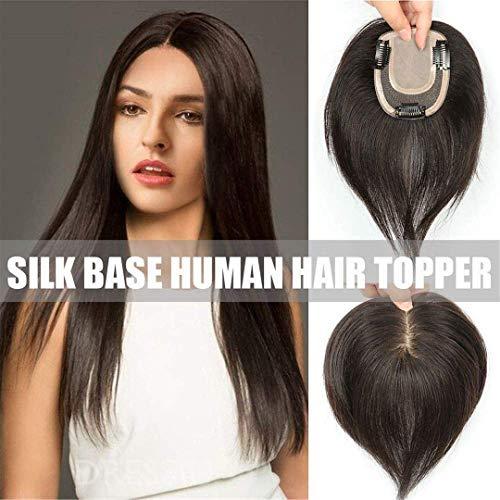 Gerade echte Echthaarclips in Hair Topper für Frauen mit Haarausfall, 3