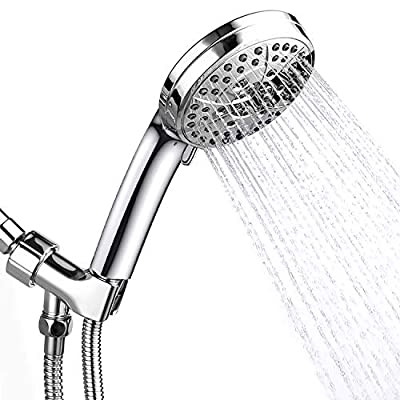 TOOLTOO High Pressure Handheld Shower Head,6 Spray Settings and 1 Flushing Function,High Flow Hand Held Showerhead with 60 inch Hose and Adjustable Bracket,Chrome Finish