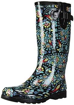 Nomad Women s Puddles Rain Boot black/green paisley 9 Medium US