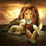 HJKGSX Kit per Diamond Painting 5D Lion Lamb Pittura Diamante 5d Fai da Te Kit, Completo Integrale Ricamo Strass Punto Croce Arte e Artigianato 30x40 cm (Senza Telaio)