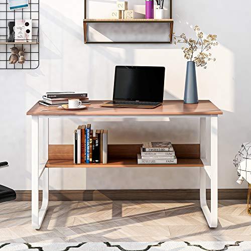 Escritorio de esquina en forma de L para ordenador, de madera DM, con 2 estantes, para oficina/hogar, oficina, escritorio ampliado, 140 x 50 x 75 y 140 x 40 x 75 cm (color madera)