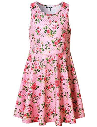 Pink Flower Dresses for Girls 5t Sleeveless Summer Sun Clothes Swing Dress