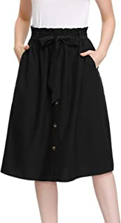 Kate Kasin Womens A Line Elastic Waist Front Button Up Skirt with Pockets and Belts