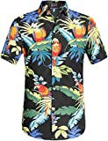 SSLR Men's Printed Casual Button Down Short Sleeve Hawaiian Shirts (Large, Black)