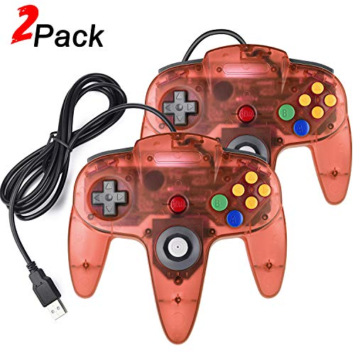 2 Pack N64 Classic USB Controller, miadore USB N64 Retro Game Pad Gamestick for PC and MAC (Clear Red)