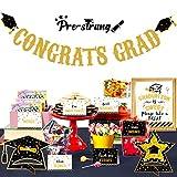 Graduation Decorations 2021 Party Supplies Set - Glitter Congrats Grad Banner Garland + 16 Label Tent Cards +1 Candy Bar Buffet Sign + 2 Table Centerpieces Decor Kit for Highschool Prek Graduate