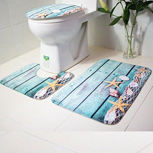 Lenfesh Toilettenmatte Set, Badezimmer Blauer Ozean Stil Sockelwolldecke + Deckel Toilettendecke + Badematte (A)