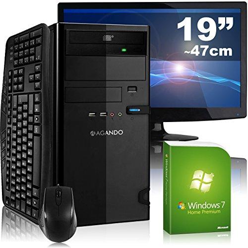 Leises Multimedia- & Gaming PC-Komplettpaket AGANDO campo 5324a4   AMD A4-5300 2x 3.4GHz   4GB RAM   AMD Radeon R7 240 2GB   1000GB HDD   DVD-RW   Gigabit-LAN   7.1 Sound   Win7HP   47cm (19