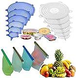 4 Bolsas de silicona reutilizable + 12 tapas de silicona ajustable para...