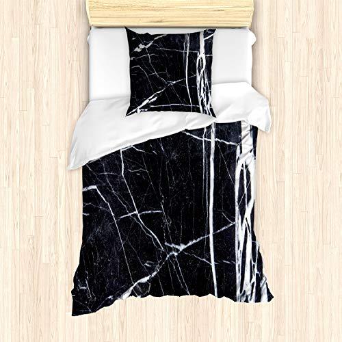 ABAKUHAUS Marmor Bettbezug Set für Einzelbetten, Grunge Naturstein, Milbensicher Allergiker geeignet mit Kissenbezug, Anthrazit grau Weiß