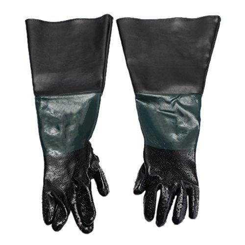 600mm Lang PVC Sandstrahlhandschuhe Handschuhe für Sandstrahlkabine und Teichpflege mit Baumwolle gefüttert