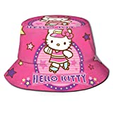 Hello Kitty Star Bucket Sun Hat para Hombres Mujeres -Protection Packable Summer Fisherman Cap for Fishing, Safari, Beach Boating Black