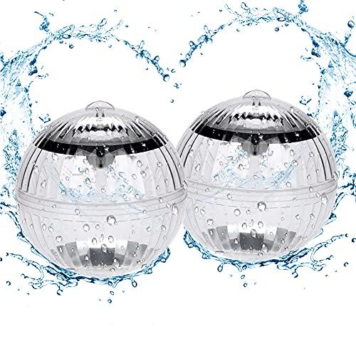 DASIAUTOEM Unterwasser Licht, Schwimmendes Pool Licht Teichlicht Wasser Schwimmende Lampen, Solar Schwimmkugel Poolbeleuchtung Wasserlicht Kugelleuchte Farbwechsel für Garten Teich Pool Baum