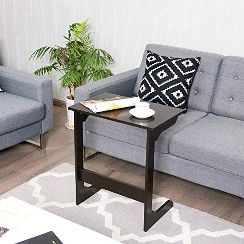 Tangkula Sofa Side Table, TV Tray Couch Snack Table Overbed Table, Laptop Desk End Table Modern Furniture for Home Office