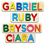 Wooden Personalized Name Puzzle Personalized Engraved Text Greetings on Back Gift for Baby Boy and Baby Girl Handmade