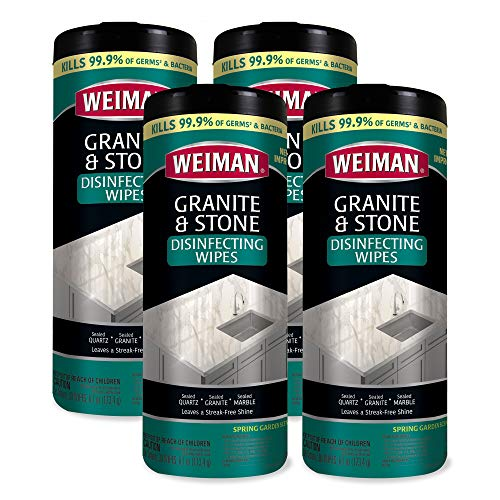 Weiman Granite Disinfectant Wipes - 30 Wipes - 4 Pack - Disinfect Clean and Shine Sealed Granite Marble Quartz Slate Limestone Soapstone Tile Countertops