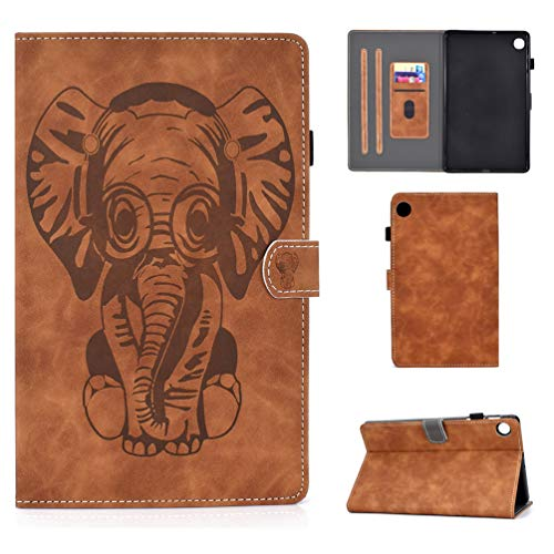 XFDSFDL Protective Cover for Lenovo Tab M10 Plus FHD TB-X606F (10.3 Inch) PU Leather Flip Case Retro Elephant Pattern with Built Stand Magnetic Closure Holster Wallet Device Shell, Brown