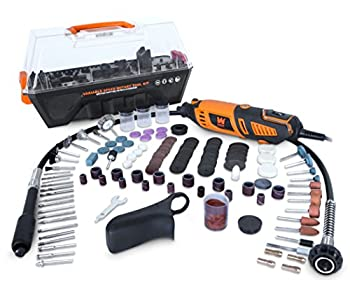 WEN 23190 1.3-Amp Variable Speed Steady-Grip Rotary Tool with 190-Piece Accessory Kit Flex Shaft and Carrying Case