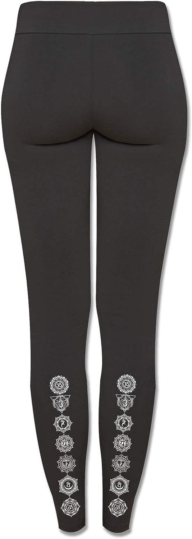 Washington Mall Easy-to-use Soul Flower Women's Chakra Organic Leggings Black Cotton Ladies