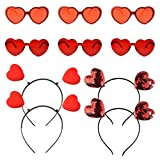 obmwang 12 Pieces Valentines Heart Head Boppers Headbands and Heart Shape Sunglasses for Party Props Holiday Costume Accessory