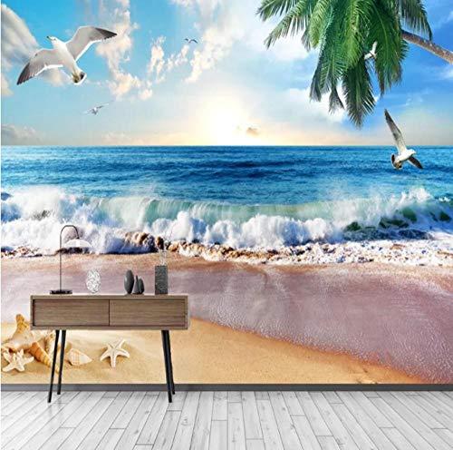 Benutzerdefinierte 3D Wallpaper 3D Stereo Seestück Möwe Coco Beach Parrot Foto Wandbild Wohnzimmer Schlafzimmer Wasserdichtes Tapetenplakat 300cmx210cm(118.1x82.7inch)