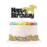 1 decoración para tarta de carreras de caballos, con texto en alemán 'Alles Gute zum Geburtstag Tortdekoration Pferdesport Party cumpleaños Boy Girl Geburtstagsfeier accesorios