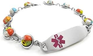 Pre-Engraved /& Customized Gluten Allergy Charm Alert Bracelet Red Red Millefiori Glass My Identity Doctor
