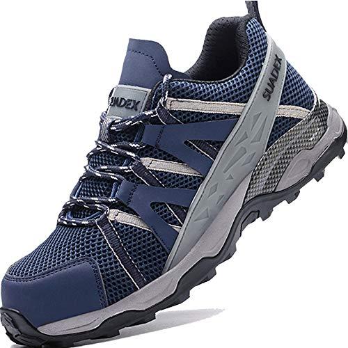 SUADEEX Sicherheitsschuhe Arbeitsschuhe Herren Leicht Sportlich Atmungsaktiv Schutzschuhe mit Stahlkappe Sneaker Anti-Smashing Anti-Piercing Blau Gr.46