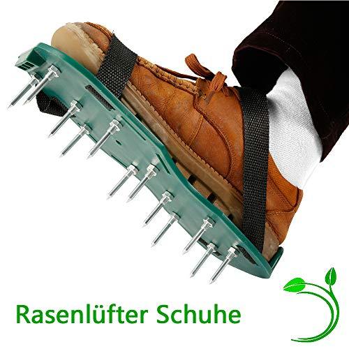 everso Rasenbelüfter Rasenlüfter Schuhe,Vertikutierer Rasen Nagelschuhe mit Verstellbare Gurte und Metal,Universalgröße Stachelschuhe für Rasen Hof