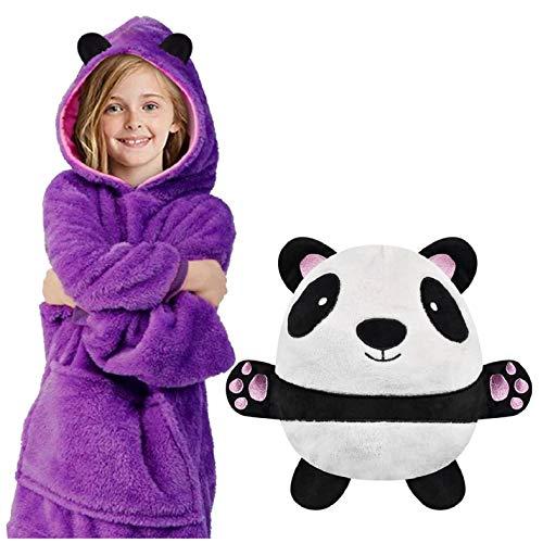 Yuson - Sudadera con capucha para niños y mascotas, 2 en 1, de peluche y peluche, se convierte en una sudadera de gran tamaño con capucha, bolsillo de manga larga, jersey de pijama, albornoz
