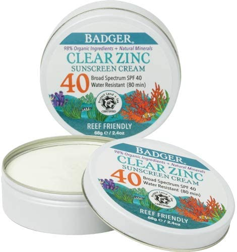 Badger SPF 40 Clear Zinc Sport Sunscreen Unscented Water Resistant Reef Safe Natural Mineral product image