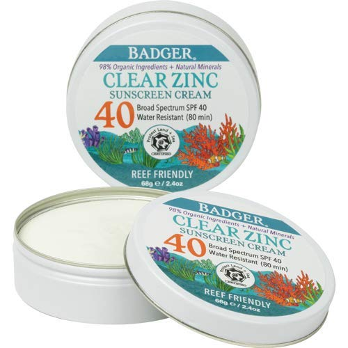 Badger - SPF 40 Clear Zinc Sport Sunscreen, Unscented , Water Resistant & Reef Safe Natural Mineral Sunscreen with Organic Ingredients, 2.4 oz Tin
