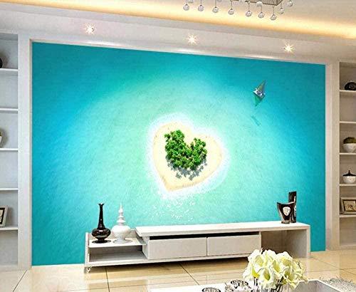 Papel pintado romántico y hermoso de la isla en forma de corazón del mar azul Papel pintado no tejido Mural Pared Pintado Papel tapiz 3D Decoración dormitorio Fotomural sala sofá mural-150cm×105cm