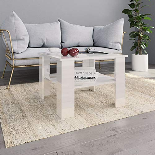 Festnight Coffee Table Center Table End Table Couch Table for Living Room High Gloss White 60x60x42 cm Chipboard