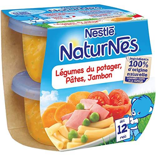 NESTLE NATURNES Petits Pots Bébé Légumes du Potager, Pâtes, Jambon - Plats complet Dès 12 mois - 2x200g - Pack de 8 ( 16 Pots )