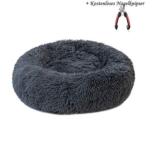 Decdeal Haustierbett Hundebett Katzenbett Rundes Plüsch Hundesofa Katzensofa Kissen in Doughnut-Form