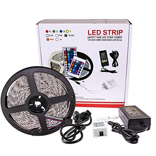 5M RGB 5050 LED Strip Lights DC12V Colors Changing Indoor+Remote+UL Power Supply