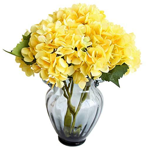 FagusHome 6 Piezas Hortensia Artificiales de Flores Artificiales con Tallos Flores Falsas para Decoración (Amarillo)